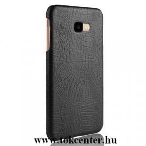 SAMSUNG Galaxy J4 Plus (J415F) Műanyag telefonvédő (bőrbevonat, krokodilbőr minta) FEKETE
