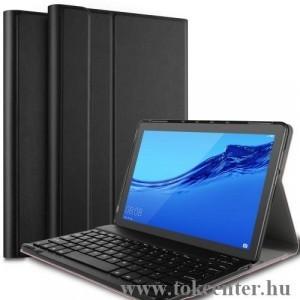 HUAWEI Mediapad T5 10 LTE /HUAWEI Mediapad T5 10 WIFI Tok álló, bőr (FLIP, bluetooth billentyűzet, asztali tartó funkció, QWERTY, angol nyelvű) FEKETE