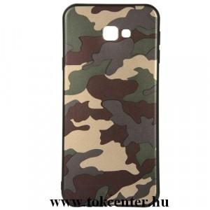 SAMSUNG Galaxy J4 Plus (J415F) Telefonvédő gumi / szilikon (bőrhatás, terepminta) ZÖLD