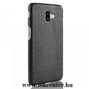 SAMSUNG Galaxy J6 Plus (J610F) Műanyag telefonvédő (bőrbevonat, krokodilbőr minta) FEKETE