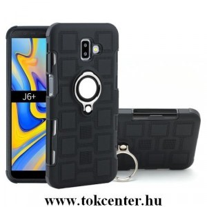 SAMSUNG Galaxy J6 Plus (J610F) Műanyag telefonvédő (gumi / szilikon belső, közepesen ütésálló, telefontartó gyűrű, beépített fémlemez) FEKETE