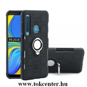 SAMSUNG Galaxy A9 (2018) SM-A920 Műanyag telefonvédő (gumi / szilikon belső, közepesen ütésálló, telefontartó gyűrű, beépített fémlemez) FEKETE