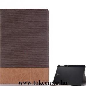 SAMSUNG Galaxy Tab S4 10.5 LTE /WIFI Tok álló, bőr (aktív flip, oldalra nyíló, asztali tartó funkció, bankkártya tartó, textilminta) BARNA