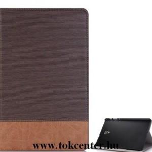 SAMSUNG Galaxy Tab A 10.5 (2018) LTE / WIFI Tok álló, bőr (aktív flip, oldalra nyíló, asztali tartó funkció, bankkártya tartó, textilminta) BARNA