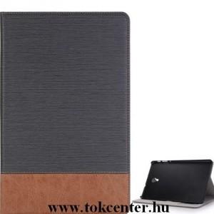 SAMSUNG Galaxy Tab A 10.5 (2018) LTE / WIFI Tok álló, bőr (aktív flip, oldalra nyíló, asztali tartó funkció, bankkártya tartó, textilminta) SZÜRKE