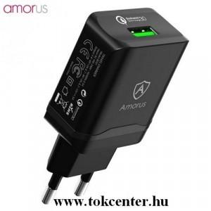 AMORUS hálózati töltő USB aljzat (5V / 3000mA, gyorstöltés támogatás, gyorstöltés támogatás, kábel nélkül) FEKETE