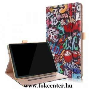 SAMSUNG Galaxy Tab S4 10.5 WIFI (SM-T830) Tok álló, bőr (FLIP, TRIFOLD asztali tartó funkció, graffitiminta) SZÍNES