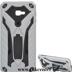 SAMSUNG Galaxy J4 Plus (J415F) Defender műanyag telefonvédő (közepesen ütésálló, gumi / szilikon belső, kitámasztó) EZÜST