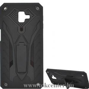 SAMSUNG Galaxy J6 Plus (J610F) Defender műanyag telefonvédő (közepesen ütésálló, gumi / szilikon belső, kitámasztó) FEKETE
