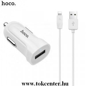 HOCO Z2 szivargyújtó töltő/autós töltő USB aljzat (5V / 1500mA, lightning 8 pin kábel) FEHÉR