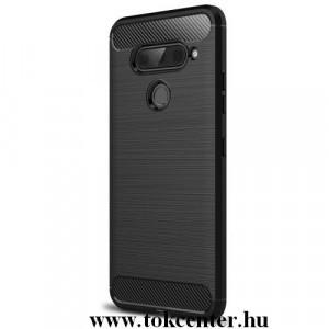 LG V40 ThinQ Telefonvédő gumi / szilikon (közepesen ütésálló, légpárnás sarok, szálcsiszolt, karbonminta) FEKETE