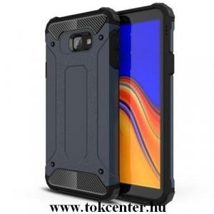 SAMSUNG Galaxy J4 Plus (J415F) Defender műanyag telefonvédő (közepesen ütésálló, légpárnás sarok, gumi / szilikon belső, fémhatás) SÖTÉTKÉK