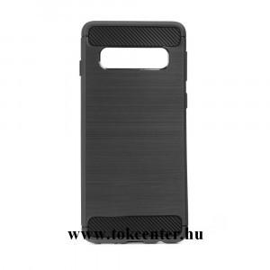 Carbon Fiber Samsung G975 Galaxy S10 Plus fekete szilikon tok