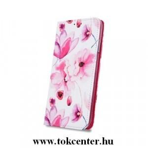 Huawei P Smart 2019 /Honor 10 Lite Pink Flowers mintás szilikon keretes könyvtok, Oldalra nyíló, Kitámasztható