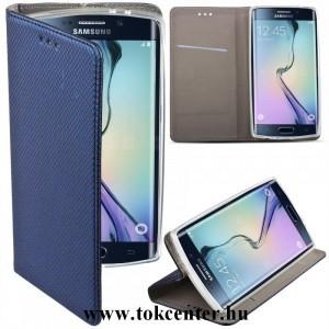 Samsung A405 Galaxy A40 sötétkék mágneses átlátszó szilikon keretes könyvtok