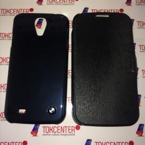 SAMSUNG Galaxy S4 (GT-I9500) Műanyag telefonvédő (BMW) FEKETE + Flip, Oldalra nyíló, Kitámasztható FEKETE