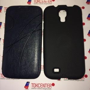 SAMSUNG Galaxy S4 (GT-I9500) Műanyag telefonvédő (Case-Mate, kiszedhető szilikon belső) FEKETE + Flip oldalra nyíló, Bankkártya tartó SÖTÉTKÉK