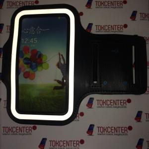 SAMSUNG Galaxy S4 (GT-I9500) Sport karpánt (fényvisszaverő csík, érintőfelület) FEKETE + AJÁNDÉK képernyővédő fóliával