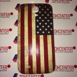 SAMSUNG Galaxy S4 (GT-I9500) AKKUFEDÉL (zászlóminta) USA/AMERIKA + AJÁNDÉK képernyővédő fólia