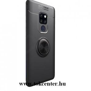 Huawei Mate 20 Telefonvédő gumi / szilikon (asztali tartó funkció, telefontartó gyűrű, 360°-ban forgatható, beépített fémlemez) FEKETE