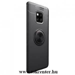 Huawei Mate 20 Pro Telefonvédő gumi / szilikon (asztali tartó funkció, telefontartó gyűrű, 360°-ban forgatható, beépített fémlemez) FEKETE