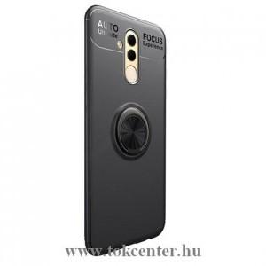 Huawei Mate 20 Lite Telefonvédő gumi / szilikon (asztali tartó funkció, telefontartó gyűrű, 360°-ban forgatható, beépített fémlemez) FEKETE