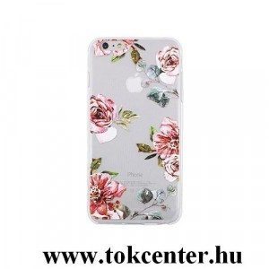 Apple iPhone 5 / iPhone 5S / iPhone SE Telefonvédő gumi / szilikon (rózsa mintás) átlátszó