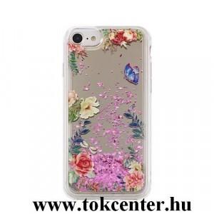 Apple iPhone X / Apple iPhone XS (5,8) Telefonvédő hátlap (rózsa mintás, folyékony csillámos) SZÍNES