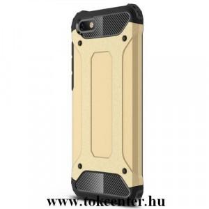 SAMSUNG Galaxy A6+ (2018) SM-A605F Defender műanyag telefonvédő (közepesen ütésálló, légpárnás sarok, gumi / szilikon belső, fémhatás) ARANY
