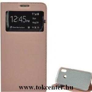 Samsung Galaxy A30s (SM-A307F) /Samsung Galaxy A50 (SM-A505F) Tok álló, bőr (FLIP, oldalra nyíló, hívókijelzés, asztali tartó funkció, View Window) ROZÉARANY