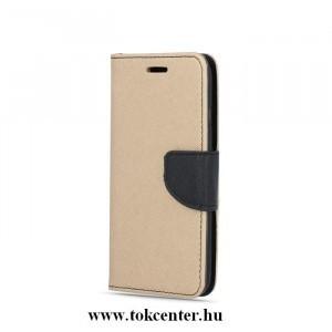 FANCY Huawei P30 Lite arany-fekete szilikon keretes könyvtok