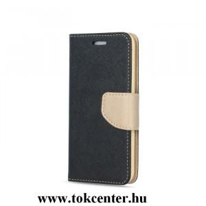 FANCY Huawei P30 Lite fekete-arany szilikon keretes könyvtok