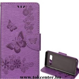 Huawei Mate 20 Lite Tok álló, bőr (FLIP, oldalra nyíló, asztali tartó funkció, csuklópánt, pillangó minta) LILA