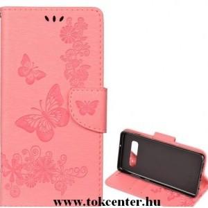 Huawei Mate 20 Lite Tok álló, bőr (FLIP, oldalra nyíló, asztali tartó funkció, csuklópánt, pillangó minta) RÓZSASZÍN