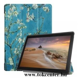 Samsung Galaxy Tab A 10.1 LTE (2019) SM-T515 /Samsung Galaxy Tab A 10.1 WIFI (2019) SM-T510 Tok álló, bőr (aktív flip, oldalra nyíló, TRIFOLD asztali tartó funkció, virágminta) ZÖLD