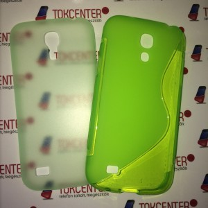 SAMSUNG Galaxy S4 mini (GT-I9190) Műanyag telefonvédő (ultravékony) ZÖLD + Telefonvédő gumi / szilikon (S-line) NEONZÖLD