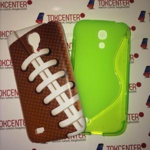 SAMSUNG Galaxy S4 mini (GT-I9190) Műanyag telefonvédő (rögbi labda minta) BARNA + Telefonvédő gumi / szilikon (S-line) NEONZÖLD