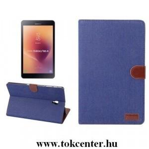 Samsung Galaxy Tab A 10.1 LTE (2019) SM-T515 /Samsung Galaxy Tab A 10.1 WIFI (2019) SM-T510 Tok álló, bőr (FLIP, oldalra nyíló, asztali tartó funkció, textil hatás) SÖTÉTKÉK