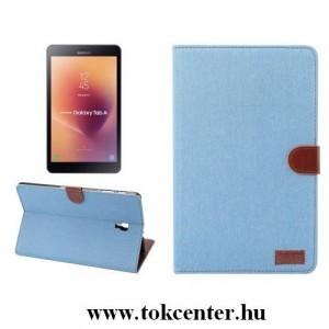 Samsung Galaxy Tab A 10.1 LTE (2019) SM-T515 /Samsung Galaxy Tab A 10.1 WIFI (2019) SM-T510 Tok álló, bőr (FLIP, oldalra nyíló, asztali tartó funkció, textil hatás) VILÁGOSKÉK