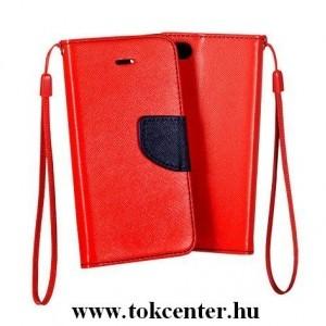 FANCY Samsung J415 Galaxy J4 Plus piros-sötétkék szilikon keretes könyvtok