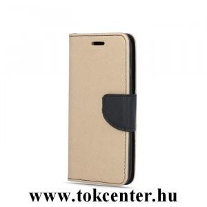 FANCY Samsung A505 Galaxy A50 arany-fekete szilikon keretes könyvtok