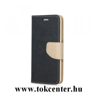 FANCY Samsung G930 Galaxy S7 fekete-arany szilikon keretes könyvtok