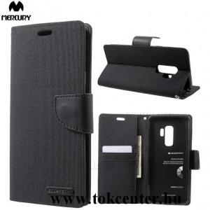 Samsung Galaxy A50 (SM-A505F) MERCURY Canvas Diary tok álló (FLIP, oldalra nyíló, asztali tartó funkció, textil hatás) FEKETE