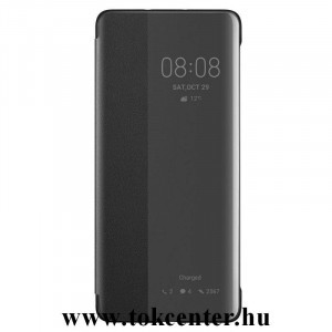 Huawei P30 Pro Tok álló, bőr (aktív flip, oldalra nyíló, Smart View Cover) FEKETE