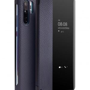 Huawei P30 Pro QIALINO tok álló, valódi bőr (aktív flip, oldalra nyíló, View Window) SÖTÉTKÉK