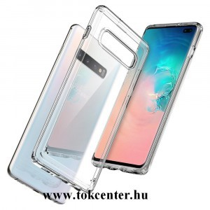 Samsung Galaxy S10 Plus (SM-G975) SPIGEN ULTRA HYBRID műanyag telefonvédő (közepesen ütésálló, szilikon keret, légpárnás keret) ÁTLÁTSZÓ (606CS25766)