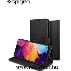 Samsung Galaxy A50 (SM-A505F) SPIGEN WALLET S SAFFIANO tok álló, bőr (FLIP, oldalra nyíló, bankkártya tartó, asztali tartó funkció) FEKETE (611CS26267)