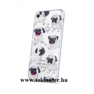 Samsung A505 Galaxy A50 Telefonvédő gumi / szilikon (Mopsz mintás) ÁTLÁTSZÓ