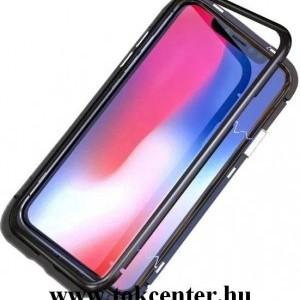 Samsung Galaxy A50 (SM-A505F) Alumínium telefonvédő (közepesen ütésálló, üveg hátlap, mágneses keret) FEKETE