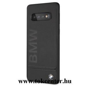 Samsung Galaxy S10 (SM-G973) BMW SIGNATURE IMPRINT LOGO műanyag telefonvédő (valódi bőrbevonat) FEKETE